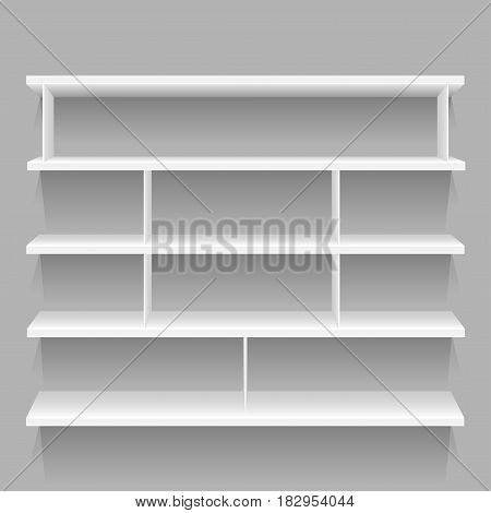 White store empty shelf with shadow for goods on gray background. Frame supermarket shop furniture design. Demonstration board