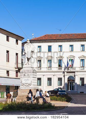 People Near Monument Of Giuseppe Garibaldi
