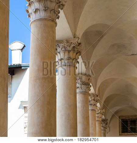 Loggia In Palladio Museum In Vicenza City