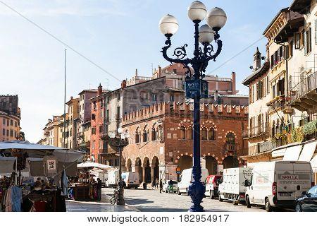 People On Market On Piazza Delle Erbe, Verona