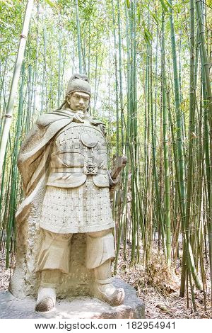 Sichuan, China - Mar 28 2015: Jiang Wei Statue At Zhaohua Ancient Town. A Famous Historic Site In Gu