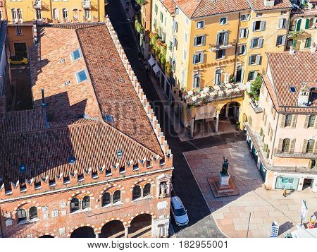 Above View Of Casa Dei Mercanti In Verona City