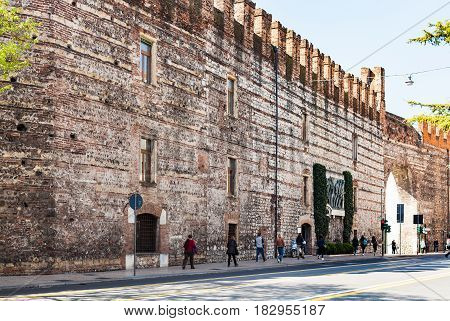 People Near Cittadella Wall In Verona City