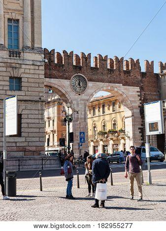 Medieval Bra Gates (portoni Della Bra) On Piazza