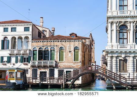 Canal Near Waterbus Stop In Venice City