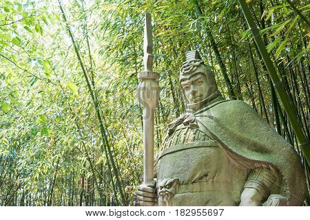 Sichuan, China - Mar 28 2015: Ma Chao Statue At Zhaohua Ancient Town. A Famous Historic Site In Guan