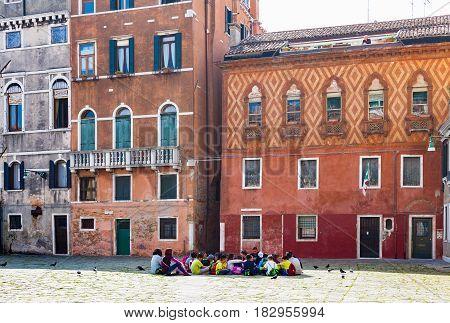 Schoolchild On Square Campo Santa Maria Formosa