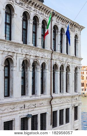 Palazzo On Grand Canal In Venice City