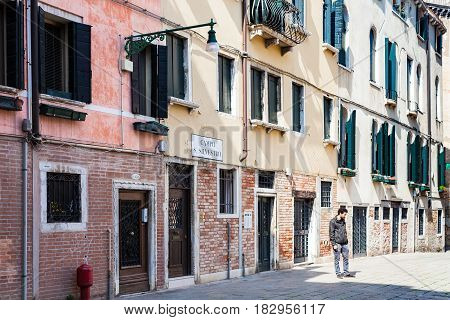 People On Campo San Silvestro In Venice