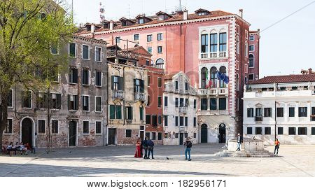 People On Campo San Polo In Venice