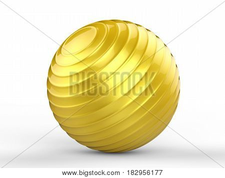 3d rendering shiny gold fitness ball on white background