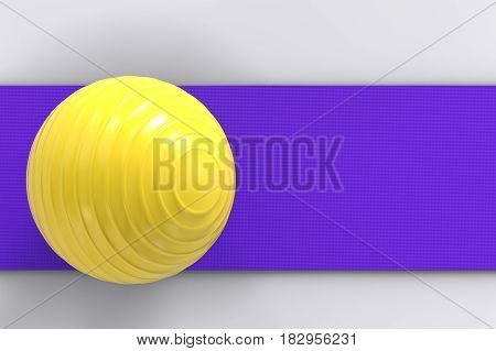 3d rendering fitness ball on yoga mat top view