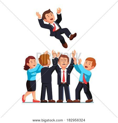 Happy business man and woman in formal suits throwing up their leader or boss in the air celebrating career success. Flat style modern vector illustration isolated on white background.