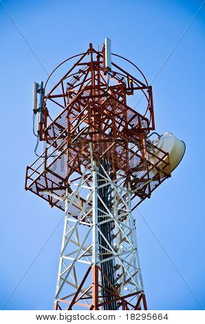 Close Up Of Top Of Red-white Antenna Tower ,thailand.