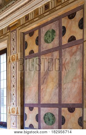 Marble Wall In Ducal Palace Museum In Mantua