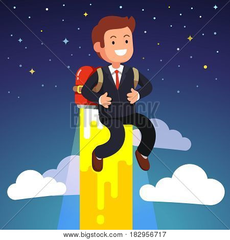 Business man flying on a jetpack fire propulsion engine above the sky towards stars. Flat style vector illustration isolated on white background.