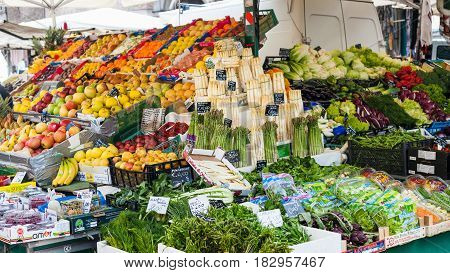 Fresh Italian Vegetables And Fruits On Market