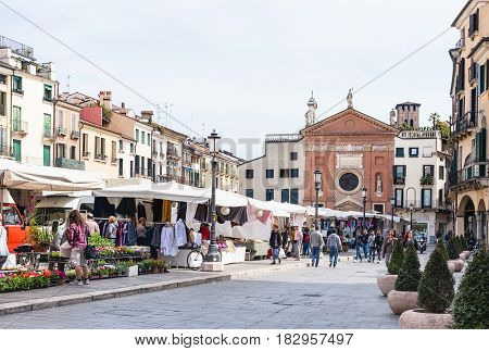 People On Street Market On Piazza Dei Signori