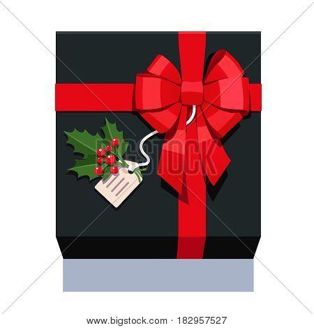 Black wrapped gift box decorated with big red ribbon bow, ilex plant sprig with leafs and berries. Flat style vector illustration isolated on background.