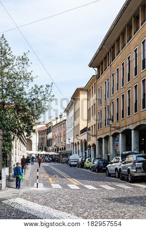 People Walk On Street In Padua City In Spring