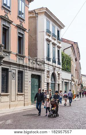 People Walk On Street Via Umberto I In Padua