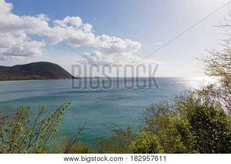 View of the great bay at Deshaies, Basse-Terre, Guadeloupe