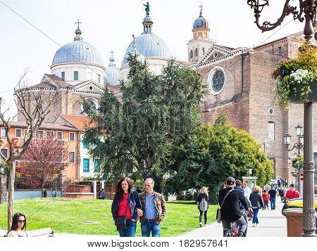 Tourists Walk To Basilica Of Santa Giustina