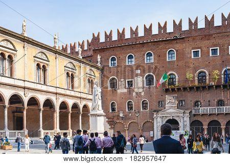 View Of Piazza Dei Signori In Verona City