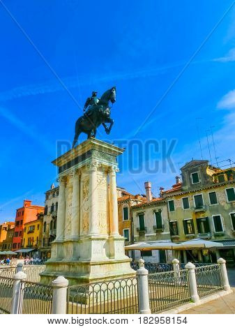The Renaissance Statue of Bartolomeo Colleoni is one of the most beautiful equestrian statues in the world at Venice, Italy