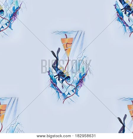 Seamless drawing of divers in the sea on white background.