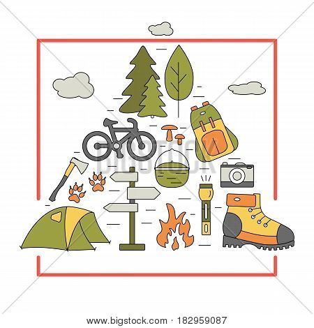 Outdoor travel icons in triangle shape. Hiking and camping thin line elements with open paths. Vector travel concept for flyers, cards, banners, web or illustrations.