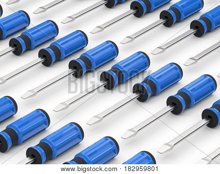 3d rendering blue screw drivers in a row on white background