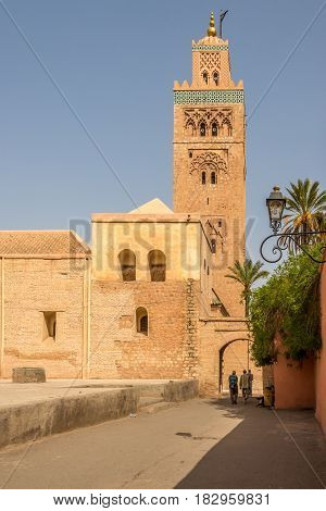 View at the gate with Koutoubia minaret in Marrakesh - Morocco