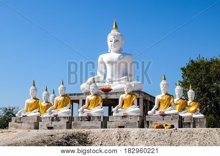 Direct White buddha with blue sky background