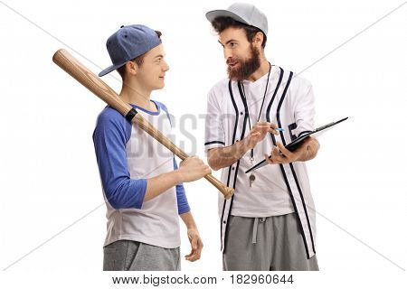 Baseball coach advising a teenage baseball player isolated on white background