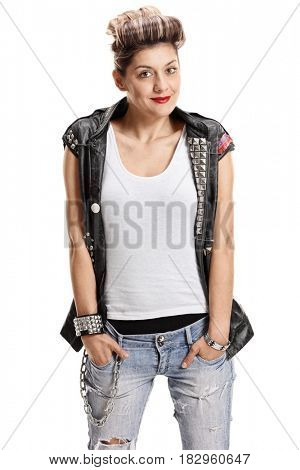 Punk girl looking at the camera and smiling isolated on white background
