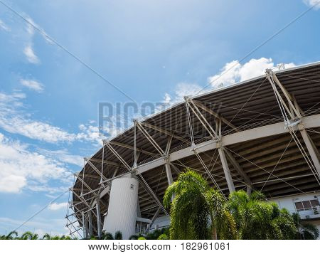 sport stadium outside with cloudy blue sky