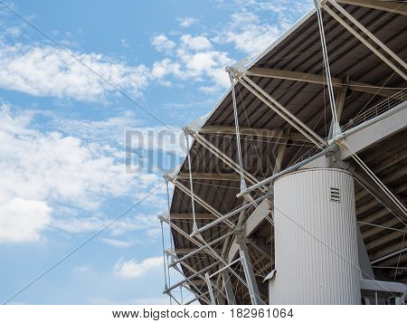 sport stadium outside with blue sky background