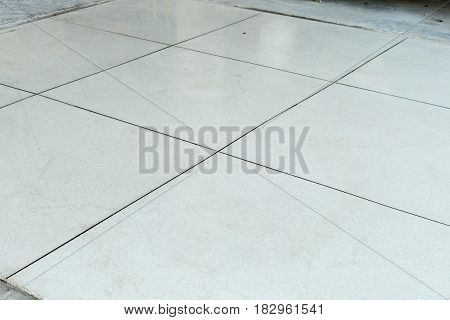 white Terrazzo floor setting on the mold