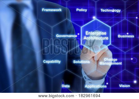 Enterprise architect pressing a tile in a hexagon grid with keywords on blue