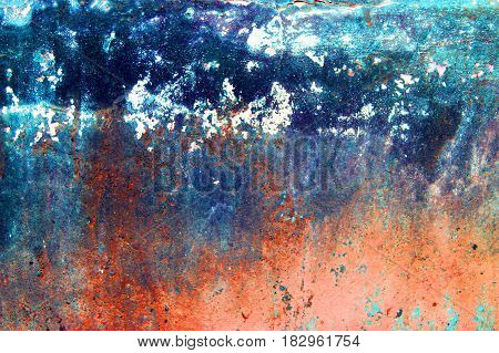 Fragment of old grungy texture with chipped paint and cracks or orange red blue concrete wall and cement surface