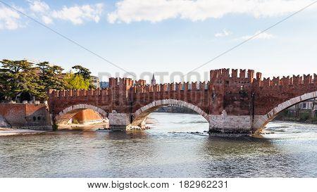 View Of Castel Vecchio Bridge In Verona City