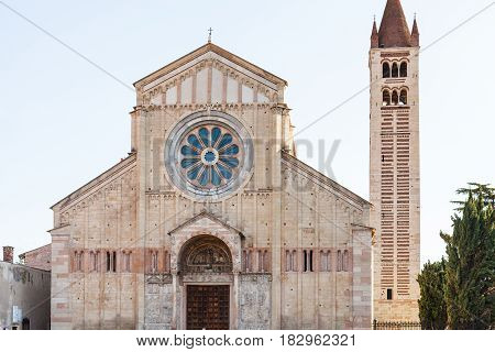 Facade Of Basilica Of San Zeno In Verona City