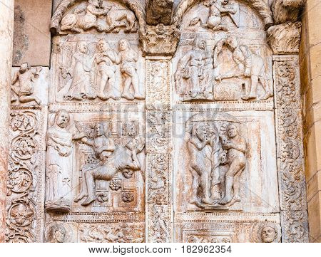 Outdoor Low Relief On Gate Of Basilica Di San Zeno