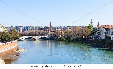 Adige River With Ponte Della Vittoria In Verona