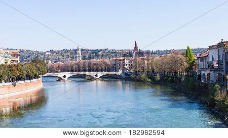 View Of Ponte Della Vittoria Of Adige River