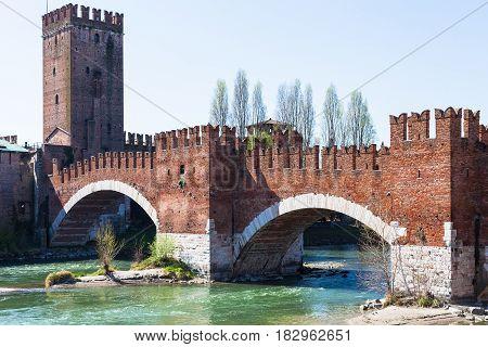 View Of Castelvecchio Bridge On Adige River