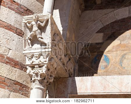 Decoration Of Portal Of Duomo Cathedral In Verona