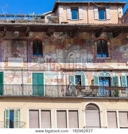 Medieval Paintings Of Facade Urban House In Verona