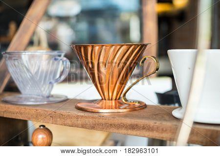 Three glass on the shelf Glass, Ceramic and bronze glass